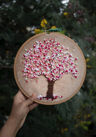 Cherry Blossom Tree Embroidered Hoop