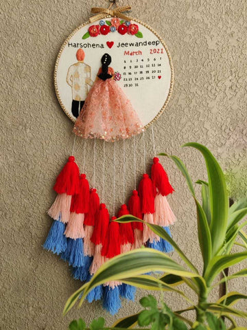 Customizable Bride & Groom Calendar Embroidered Hoop with Tassels