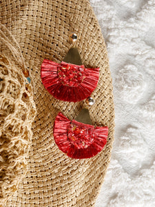 Red Raffia earrings with a triangle metal base Earrings - The Tassle Life