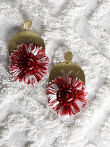 Maroon and White Raffia earrings with a Circular metal base - The Tassle Life