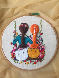 Best Friends Forever Embroidered Hoop