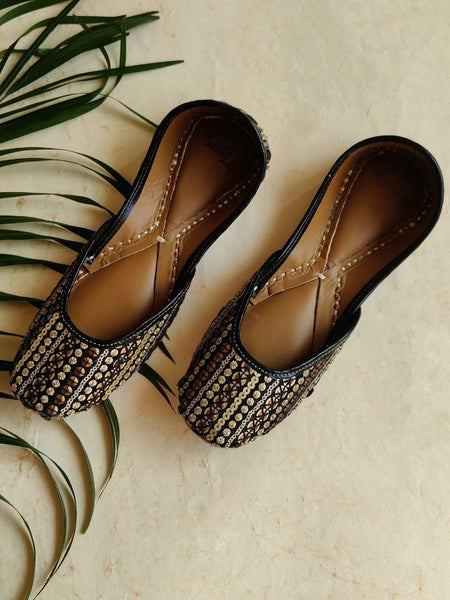 Hand Embroidered Sequence Work Juttis - Black