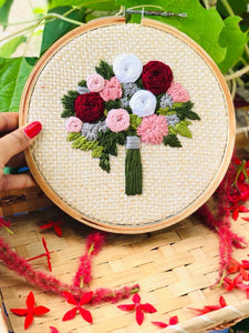 Floral Bouquet Embroidered Hoop