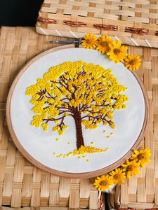 Cherry Blossom Tree - Yellow Embroidered Hoop