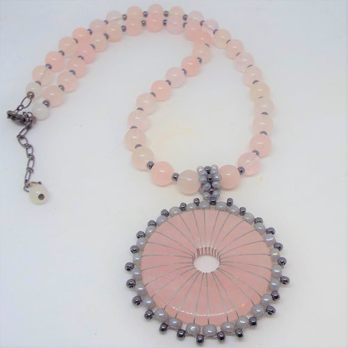 Rose Quartz Donut Necklace