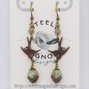 Bird Earrings, Blue Jasper