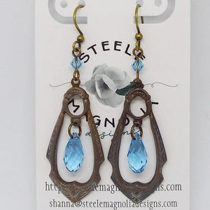 Gypsy Teardrop Earrings, Aqua