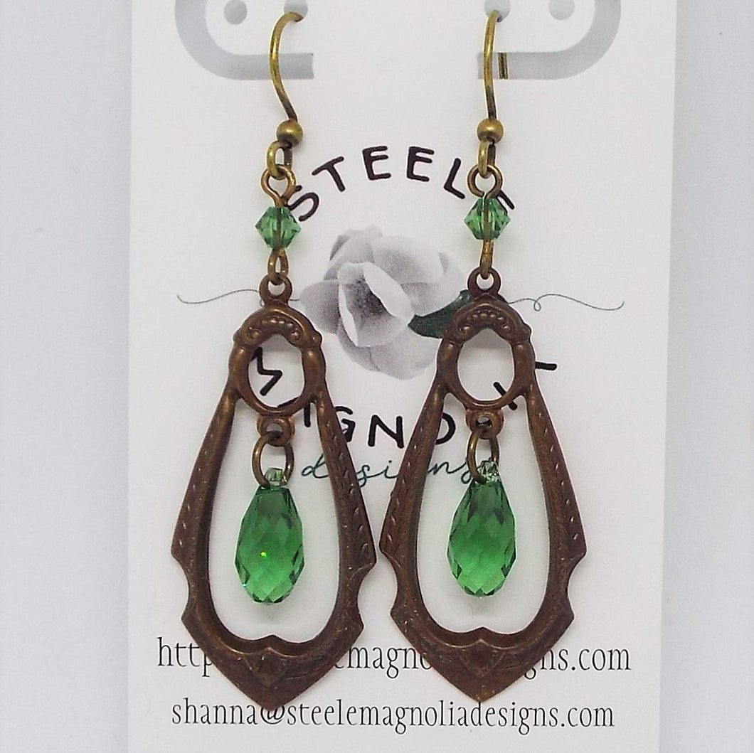 Gypsy Teardrop Earrings, Green