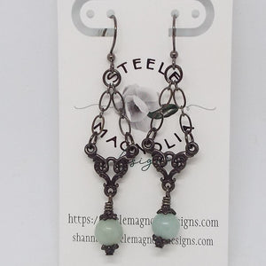 Gemstone Swing Earrings, Amazonite