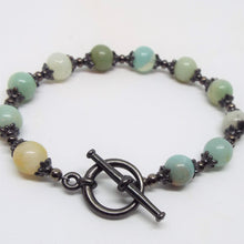 Gemstone Beaded Bracelet - Amazonite & Gunmetal
