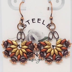 MiniFan SuperDuo Earrings - Autumn Gold