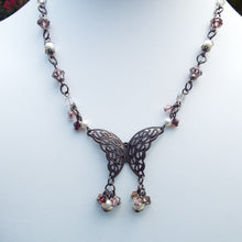 Gunmetal Butterfly Necklace