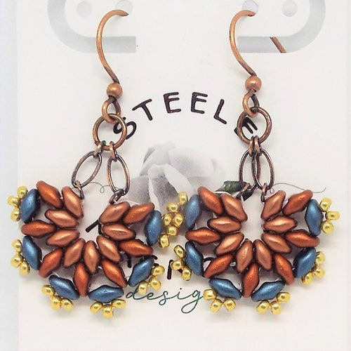 MiniFan SuperDuo Earrings - Canyon Copper