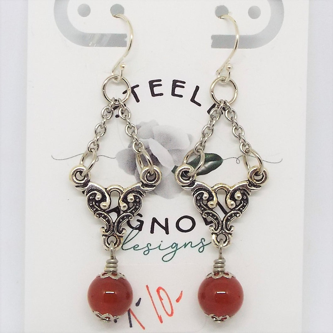 Empress Earrings - Silver & Carnelian