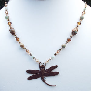 Earth and Sky Dragonfly Necklace