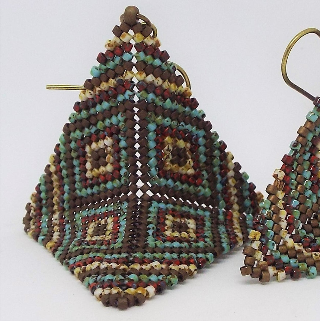 Large Origami Earrings - Earthen