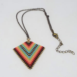 Deco Diamond Pendant Necklace - Fiesta