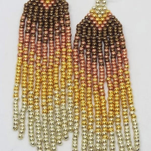 Metallic Mini Fringe Earrings - Fall