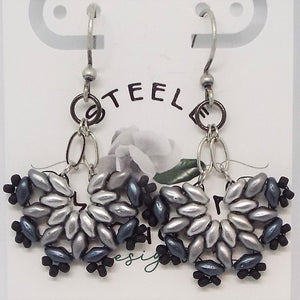 SuperFan SuperDuo Earrings - Grayscale Silver