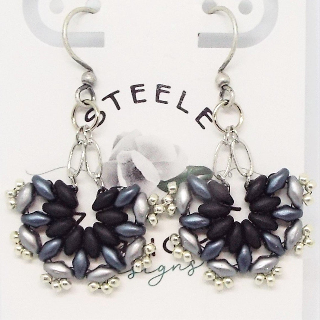 SuperFan SuperDuo Earrings - Grayscale Black