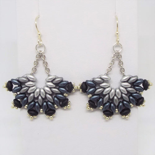 SuperFan SuperDuo Earrings - Grayscale