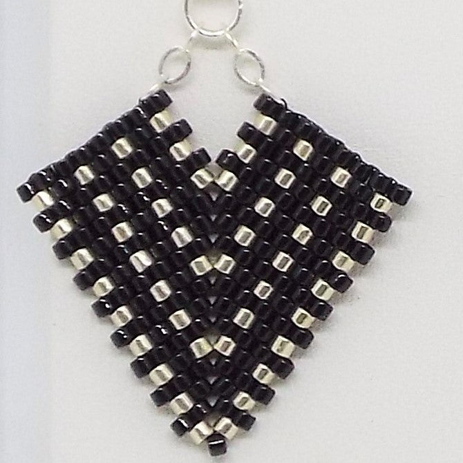 Hollywood Earrings - Black & Silver, Small