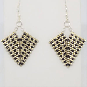 Hollywood Earrings - Silver & Black, Small