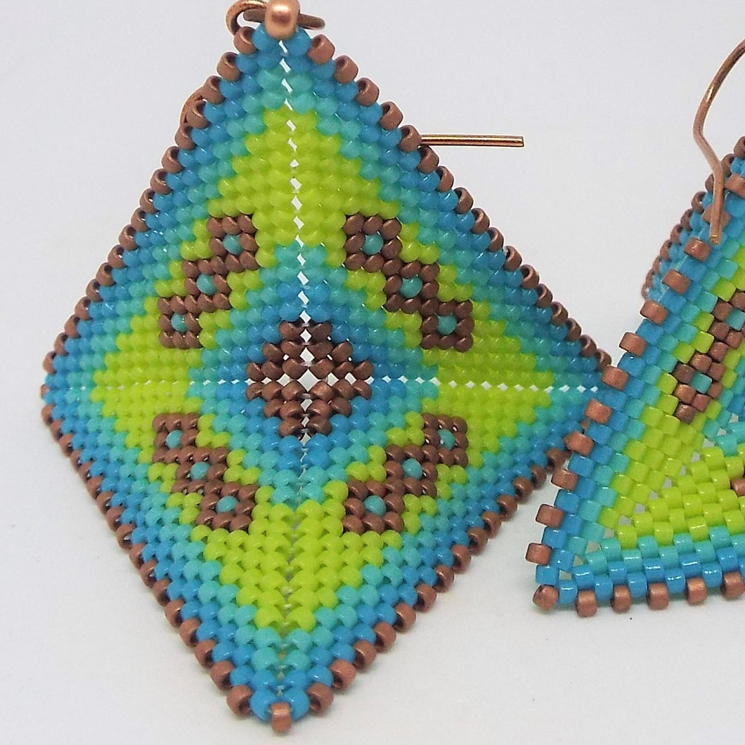 Large Origami Earrings - Clear Waters