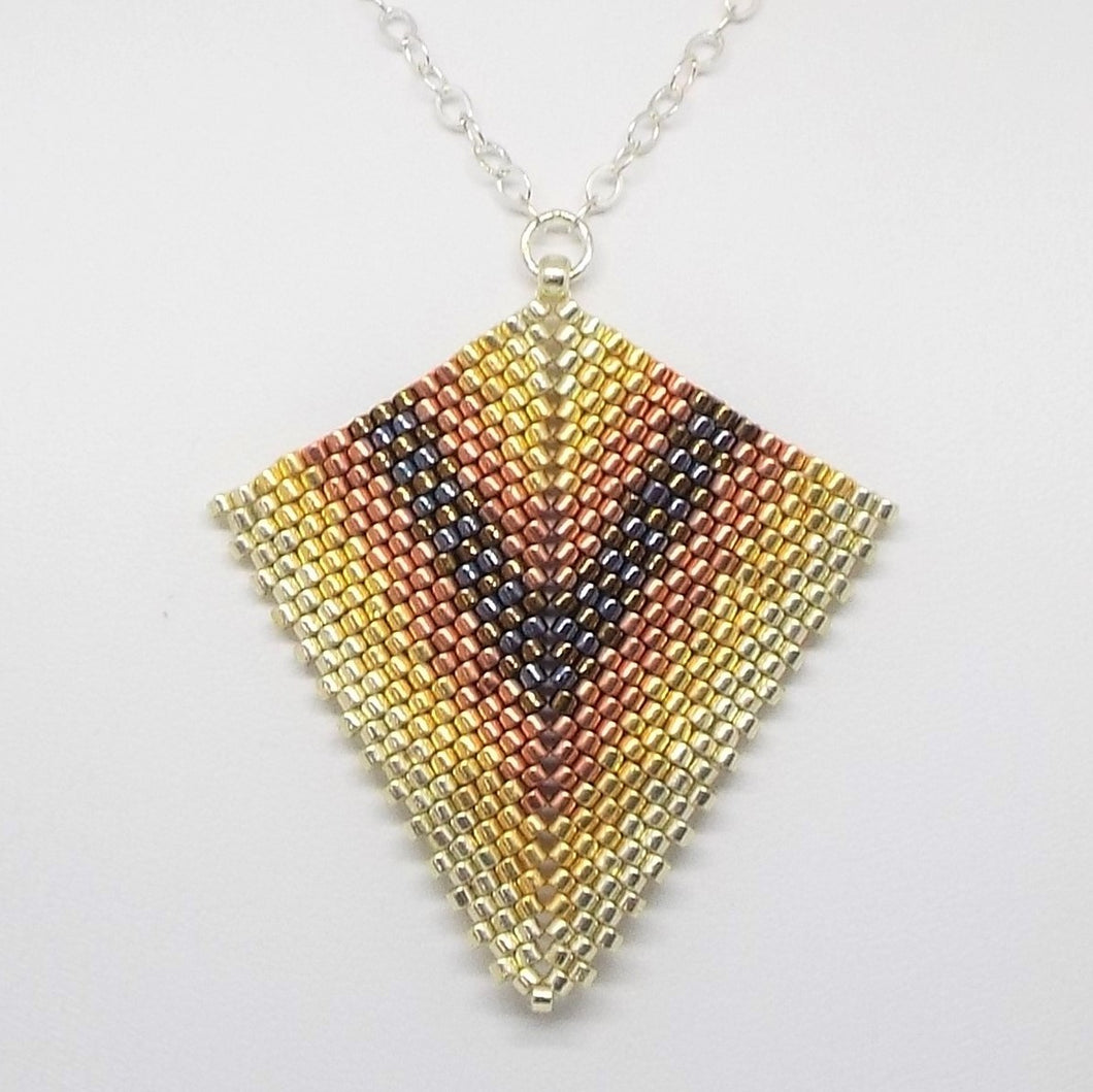Deco Diamond Pendant Necklace - Metal