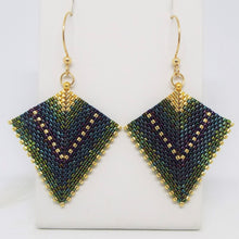 Deco Diamond Earrings - Peacock, Large