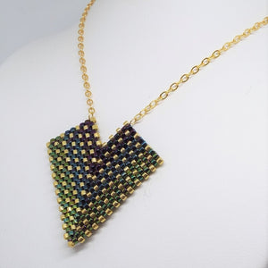 Deco Diamond Pendant Necklace - Peacock, Medium