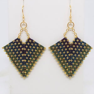 Deco Diamond Earrings - Peacock, Medium