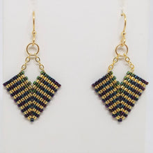 Deco Diamond Earrings - Peacock, Small