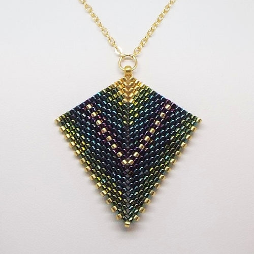 Deco Diamond Pendant Necklace - Peacock, Large