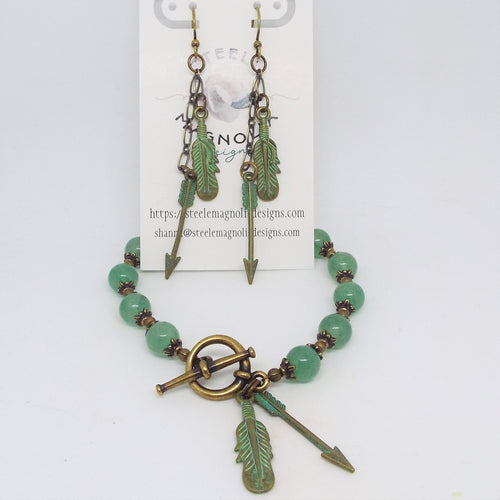 Bracelet and Earring Set, Green Feather and Arrow