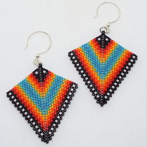 Deco Diamond Earrings - Tribal, Large