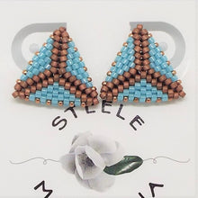 Triangle Post Earrings - Turquoise & Copper, Medium