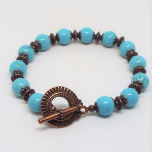 Gemstone Beaded Bracelet - Turquoise & Copper