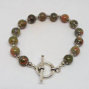 Gemstone Beaded Bracelet - Unakite & Silver
