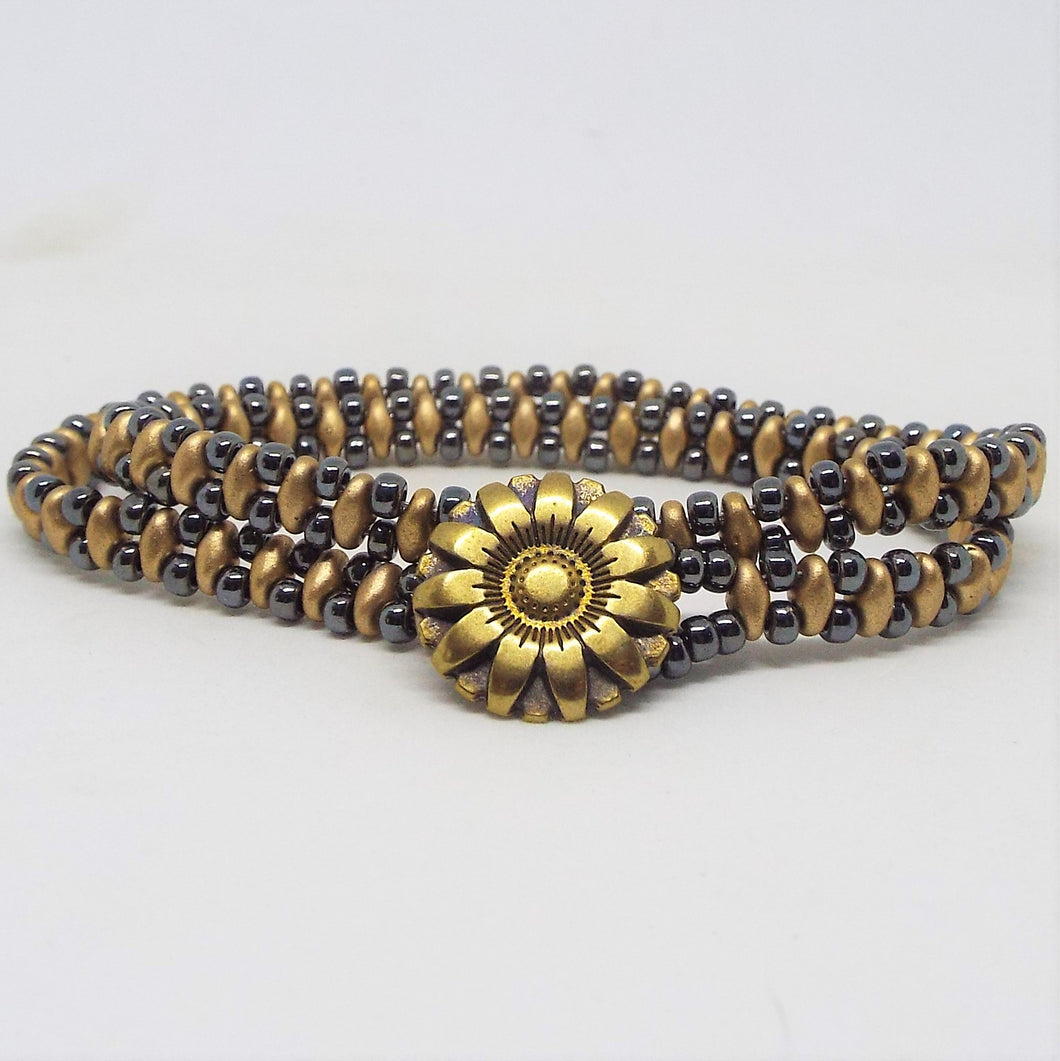 Beaded Wrap Bracelet - Gold & Gunmetal