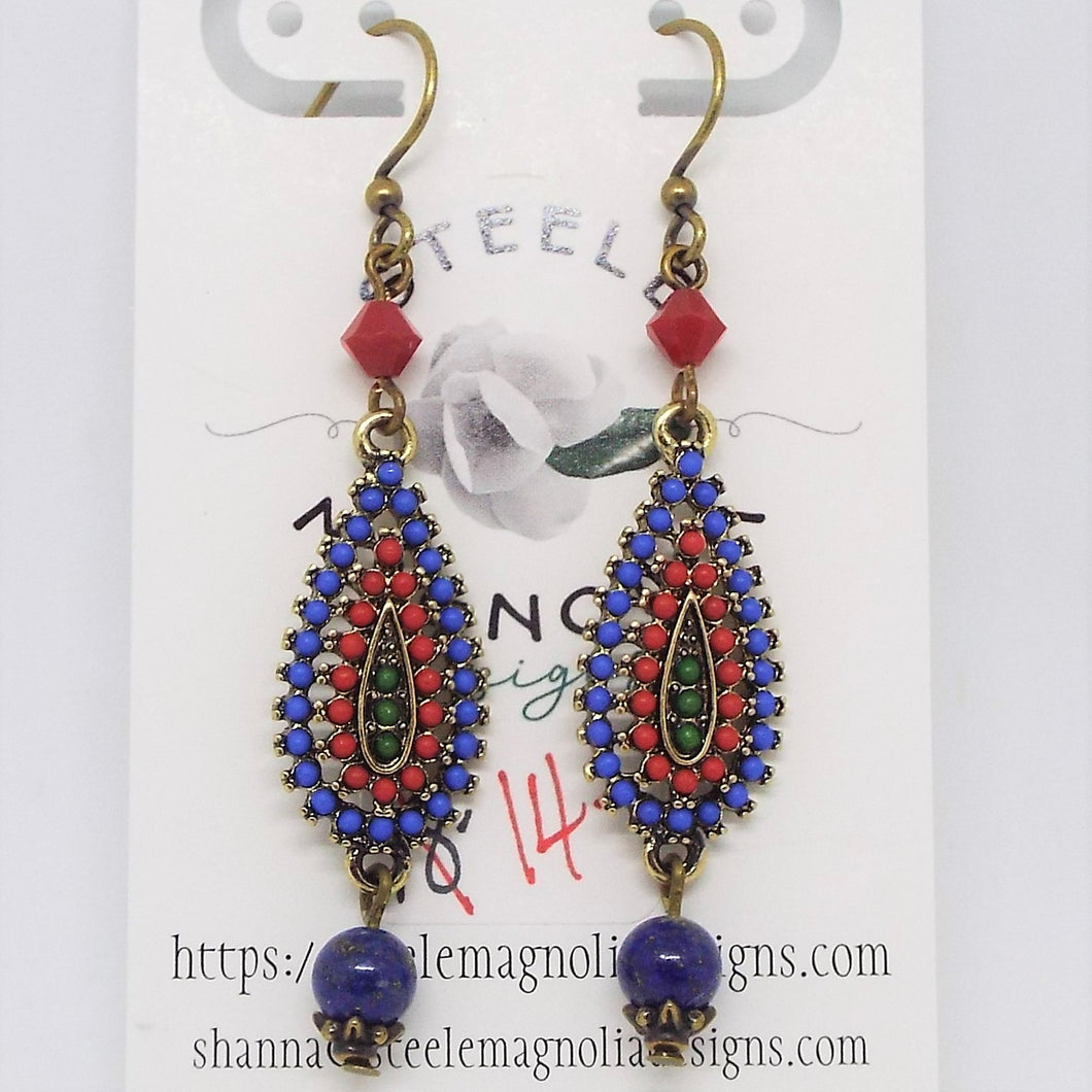 Teardrop Earrings - Lapis and Coral