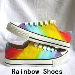 Mr.Niscar Adults Unisex Casual Sneakers Rainbow Gradient DIY Custom Hand Painted Canvas Shoes Women Fashion Breathable Sneaker - melangebyojo