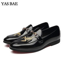 Male China Brand italian Fashion Style Leather Leisure Embroidery Social Formal Shoe Patent Leather Black Cheap Footwear for Men - melangebyojo