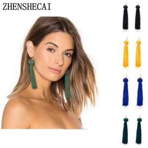 New Bohemian Gold Color Tassel Long Earrings brinco many colors Silk Hanging Earrings For Women Jewelry Dangle Earring