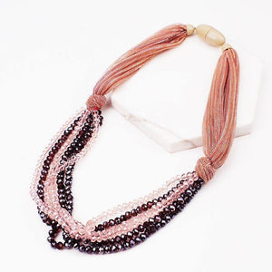MANILAI Silk Rope Chunky Necklace Multilayer Crystal Pendant Necklace for Women Handmade Statement Necklace Party Jewelry - Mélange Paris