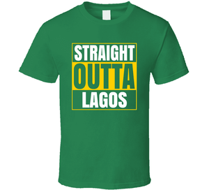 Straight Outta Lagos Ladies Irish Green T Shirt