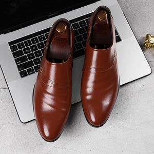Merkmak 2019 new business men Oxfords shoes set of feet Black Brown Male Office Wedding pointed men's leather shoes