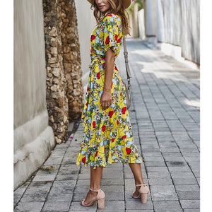 Long Dress Women Casual Floral Boho Dress 2020 Loose Chiffon Party Dresses Beach V Neck Dress Short Sleeve Dress Sexy Maxi Dress