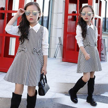 High Quality Girl Dress 2020 Spring and Autumn New Girls Houndstooth Dress Baby Girl Sweater Dress Plaid Pattern Dress