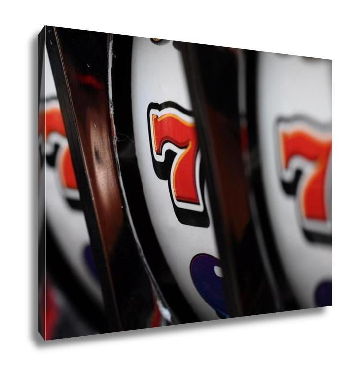 Gallery Wrapped Canvas, Close Up Of Three Seven Jackpot On Casino Slot Machine - melangebyojo
